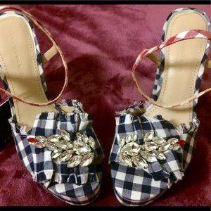 Zara Sexy Patriotic Bejeweled Platform Heels